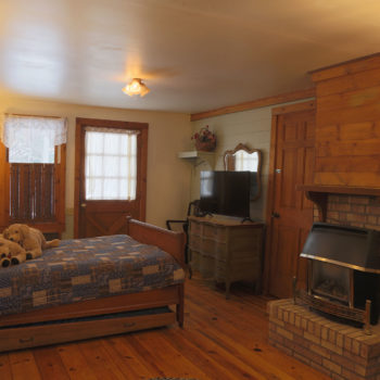 Main room of cottage with full size bed and trundle