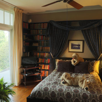 queen size bedroom with books, books, books.