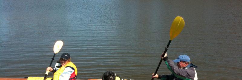 Kayaking on Lake Geneva with the dog.