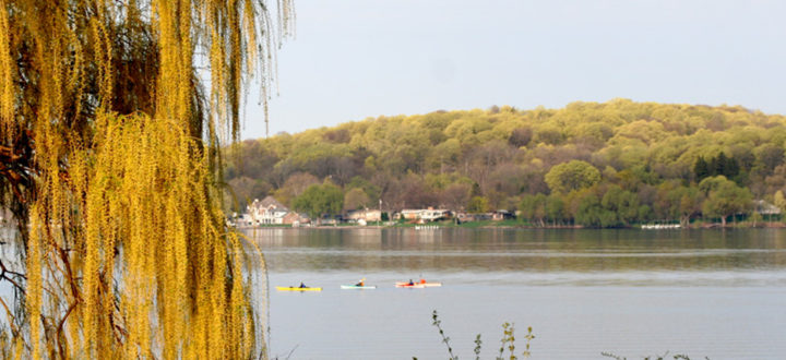 Kayaking Lake Geneva in the spring.