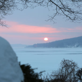 sunset on lake geneva